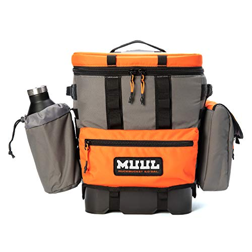 (MUUL Backpack Cooler- The Ruckbucket Carries Your Tailgate Gear and Keeps Your Beer Cold with an Extra 0.5gal Pouch and Bottle Holder- Hunter Orange...)