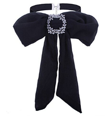 Heyuni. Women Adjustable Pre-tied Bow Tie Chiffon Solid Color Necktie Costume ()