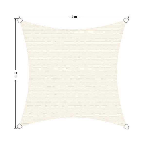 41QLz1hBdmL SONGMICS Sonnensegel 2 x 2 m, Sonnenschutz aus reißfestem HDPE-Kunststoff, wetterbeständiger UV-Schutz, luftdurchlässig…