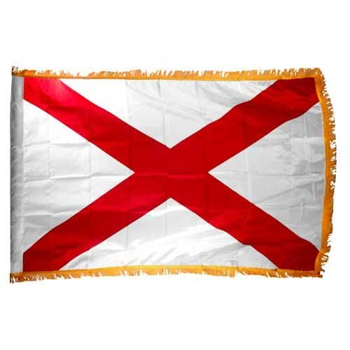 Alabama 3x5ft Nylon Flag with Indoor Pole Hem and Fringe