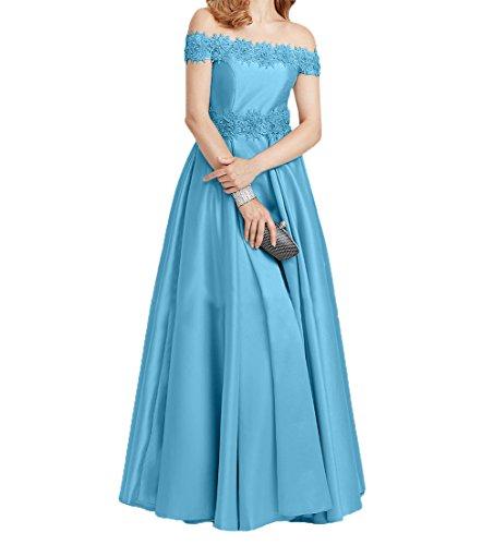 Kurzarm Partykleider Promkleider Festlichkleider Charmant Spitze Damen Blau Abendkleider Brautmutterkleider Lang Elegant pga7qwB