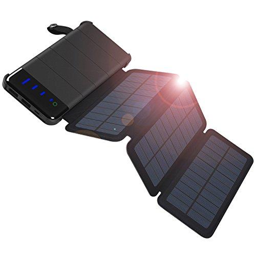 COOPOW 10000mAh Fast Solar Charger, Detachable Design with 3 High Efficiency Foldable Panels and LED Light for iPhone X/8/7/6s plus, Samsung and more Smart phone, Outdoor Camping, Travelling by COOPOW