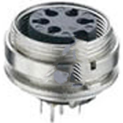 Lumberg KGR 120 , connector, circular din, female chassis socket w/pcb pins, front mount, 12 cont, ip40