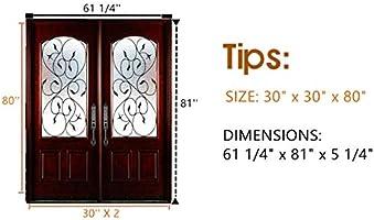 Puerta de entrada exterior de madera para puertas individuales/dobles, puerta frontal izquierda/derecha, puerta interior de madera de caoba con cristal opaco: Amazon.es: Bricolaje y herramientas