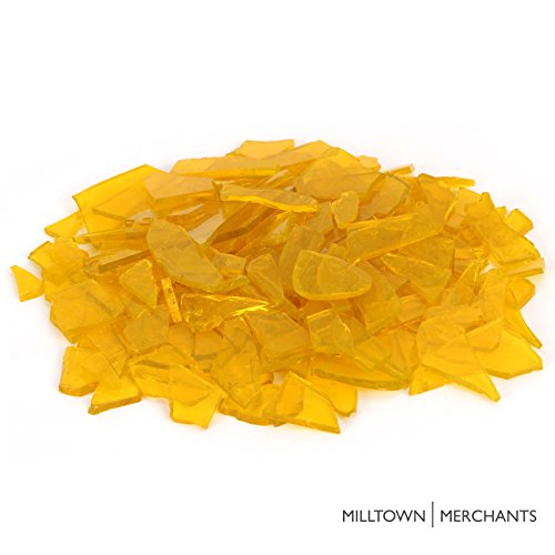 (Milltown MerchantsTM Yellow Stained Glass Pieces 3 lb - Transparent Stained Glass Cobbles - Broken Glass Chips for Stepping Stones and Crafts - Bright Color Glass Coblets)