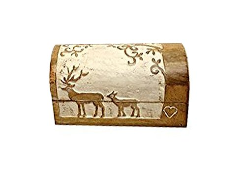 - Shabby Chic Wooden Jewelry Trinket Chest Multi-utility Small Keepsake Storage Box Home Decor Accent - Aheli