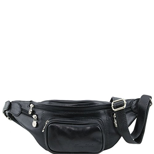 Tuscany Leather - Leather Fanny Pack Black - TL141305/2 by Tuscany Leather