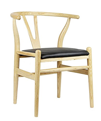Hans Wegner Wishbone Style Italian Leather Chair (Ash U0026 Italian Leather)