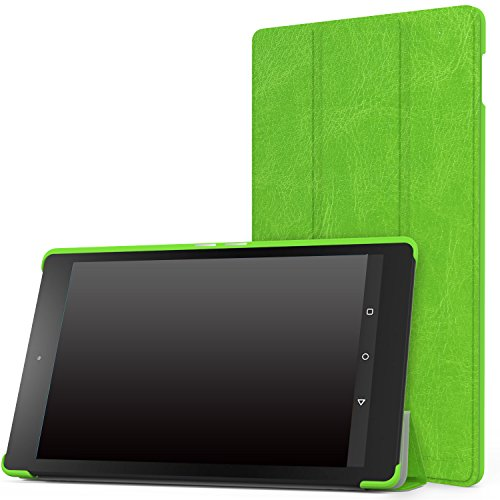 """MoKo Case for Fire HD 8 2015 [Previous 5th Gen ONLY] - Ultra Lightweight Slim-shell Stand Cover with Auto Wake/Sleep for Amazon Kindle Fire HD 8"""" Display Tablet (NOT FIT Fire HD 8 2016), FM GREEN"""