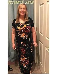 AKEWEI - Maxi vestido de verano para mujer, cuello en V, manga corta, vestido largo con bolsillo, falda de playa, con aberturas