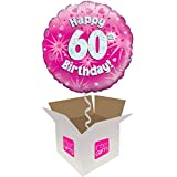 InterBalloon Helium Inflated Happy 60th Birthday Pink Holographic Balloon Delivered In A Box