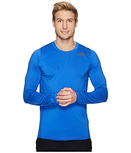 (adidas Men's Alphaskin Sport Fitted Long Sleeve Tee Hi-Res Blue Large)