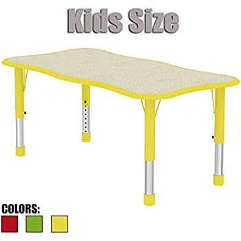 Great 2xhome   Yellow   Kids Table   Height Adjustable Wavy Rectangle Shape Child  Laminate Top Activity