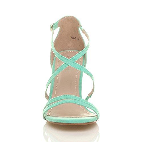 High Shoes Women Sandals Ajvani Suede Size Heel Green Mint TH5qxwfx