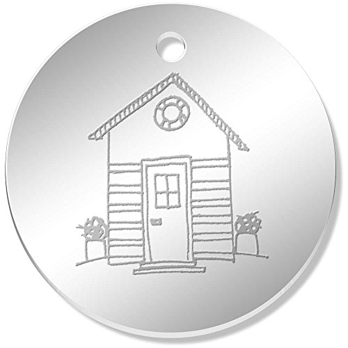 11 x 34mm 'Beach Hut' Mirror Pendants / Charms - Hut Mirror Beach