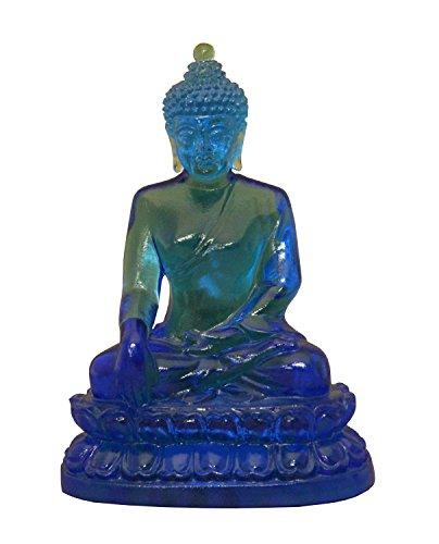 Crystal Glass Liuli Pate-de-verre Blue Color Buddha Sakyamuni