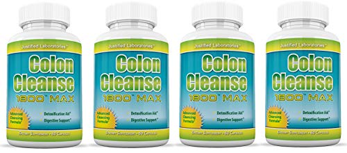 Colon Cleanse 1800 Max Weight Loss Detox Cleanse All Natural with Acai Fruit and Fennel Seeds 60 Capsules Per Bottle 4 Bottles ()