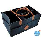 Baby Diaper Caddy and Organizer + Gifts | Nursery Storage Tote | for All Baby Registry Essential Items | Sturdy and Thick Felt Material | Navy Blue Color | Perfect Baby Shower Gift