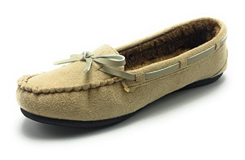 Winter Moccasin Slip Lining Classic Warm Shoes on Beige Flat Women 1 Comfortable Fur Uw5qY4