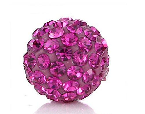 (Samonica Disco Balls Polymer Clay Beads 10mm Pave Czech Crystal Rhinestones Shamballa Beads Premium Quality Spacer Beads for Jewelry Making (20pcs, Fushia))
