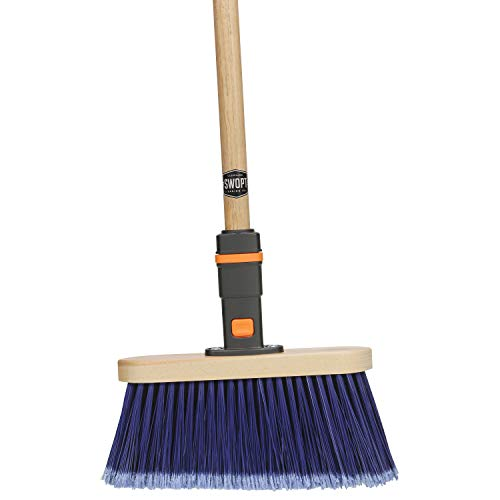 SWOPT Premium Multi-Surface Angle Broom – 48 Comfort Grip Wooden Handle – EVA Foam Comfort Grip Provides Stability & Comfort – Handle Interchangeable with All SWOPT Products