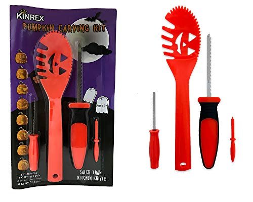 KINREX  Pumpkin Carving Tools  - 4 Tools Kit - 8 Halloween Style Stencils - Easily Carve Pumpkins Jack-O-Lanterns - Carving Tools Kit For Kids and Adults - Pumpkin Party Decorations