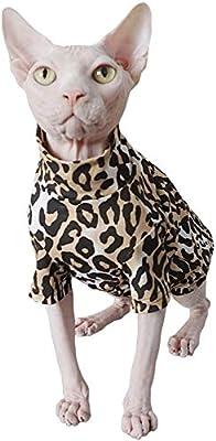 JLCYYSS Gato sin Pelo Moda y Camisa Transpirable y Adorable Adorable Gato Ropa con Estampado de Leopardo Ropa para Mascotas, Gatos y Ropa para Perros pequeños: Amazon.es: Productos para mascotas