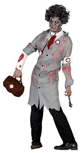 Mens Grey Zombie Dead Doctor Surgeon Halloween Fancy Dress Costume Outfit -