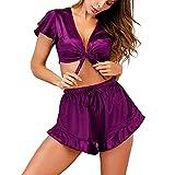 Redbrowm Sleepwear For Women,Pleasure Two-Piece Sexy Satin Strappy Solid Pajamas