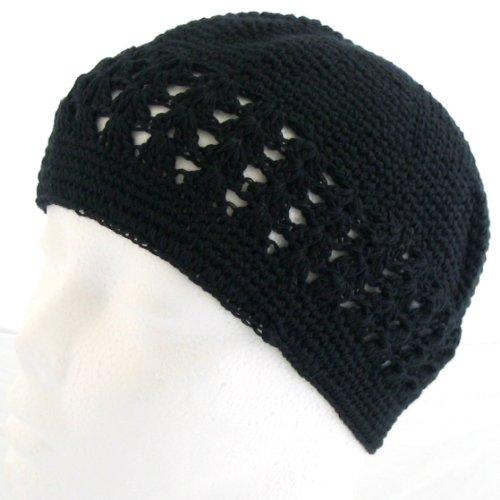 Knit Kufi Hat - Koopy Cap - Crochet Beanie (Black)