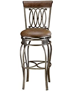 hillsdale montello 32inch swivel bar stool old steel finish with faux brown leather