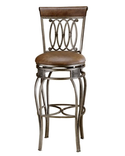 Hillsdale Montello 32-Inch Swivel Bar Stool, Old Steel Finish with Faux Brown Leather