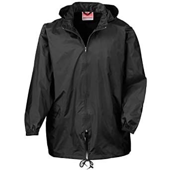 Black Rain Jacket With Hood