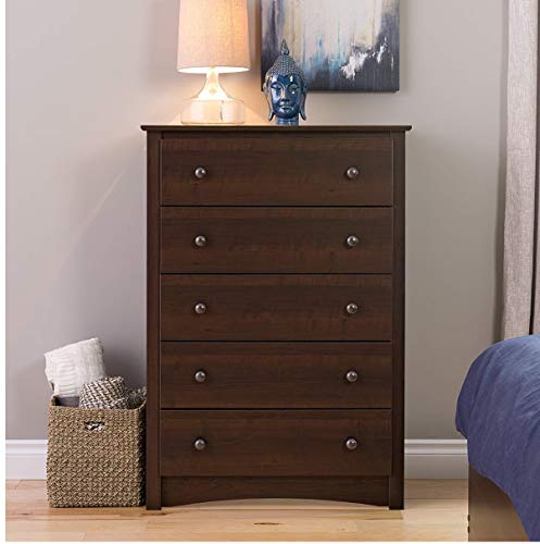 Espresso 5 Drawer Dresser Chest of Drawers with Solid Frame Storage Organizer Unit for The Bedroom Living Room and Kids Room Easy Assembly