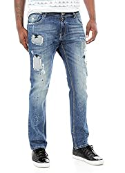 Copper Rivet Men's Zig Zag Stitch on Vintage Hole Denim Jeans-M/Sand Blue-32/32