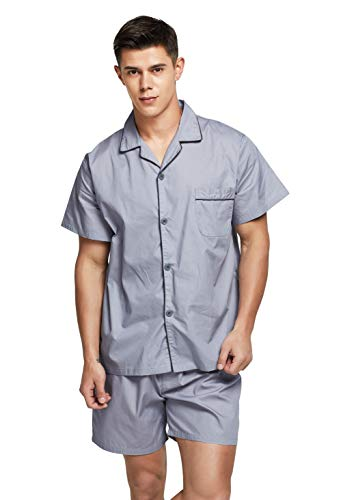 TONY AND CANDICE Men's Cotton Pajamas, Short Sleeve Pajama Set Woven Button-Down Sleepwear Loungewear Nightwear (Grey, Medium)