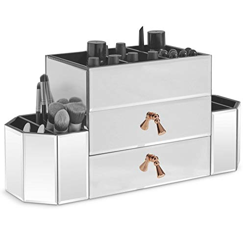 Beautify Large Mirrored Glass Jewelry Box and Cosmetic Makeup Organizer with 2 Drawers and 7 Sections, Silver Desk Tidy with Rose Gold Handles
