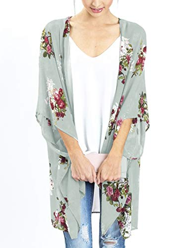 Women's Oversize Sheer Loose Cover up Fall Floral Print Kimono Cardigans (Light Green, 2XL) - Wrap Cardigan Oversized