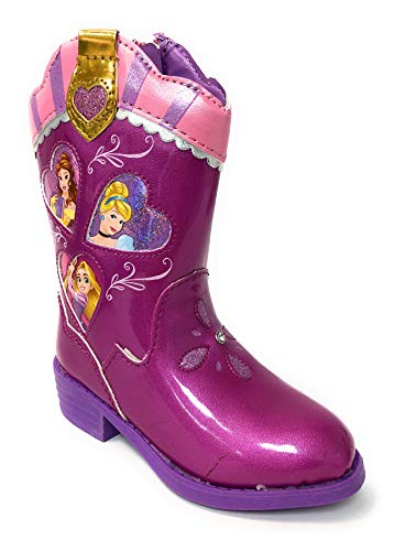 Disney Toddler Girls Princess Pink Western Boot with Cinderella, Rapunzel and Belle (6 M US Toddler Girls)