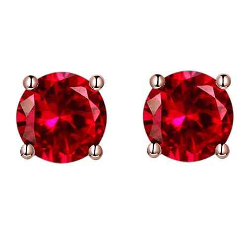 6MM Round Red Stud Earrings 18K Rose Gold Plated with Crystal for Women and Girls Christmas Gift (Red) Crystal 6 Mm Stud