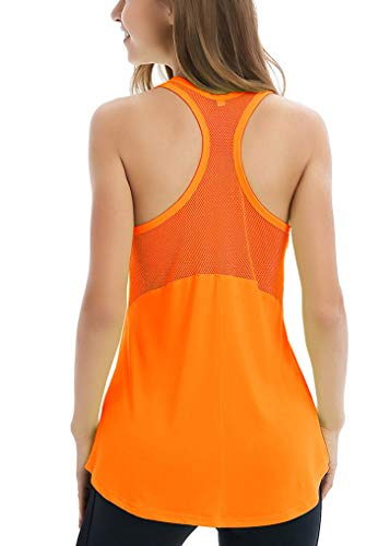 Fihapyli Women's Sleeveless Yoga Shirts Workout Tank Tops Actives Breathable Mesh Backless Tank Yoga Tops Workout Shirts Running Workout Clothes for Womens Racer Sport Tanks Activewear Orange - Shirt Top Leggings