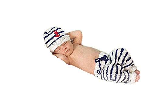 Pinbo Newborn Baby Photo Prop Crochet Sailor Navy Stripe Anchor Hat Pants by Pinbo