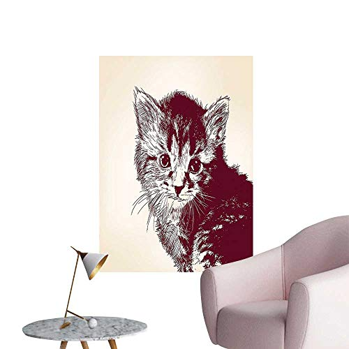 Wall Stickers for Living Room Style Illustration of a Cute Baby Little Innocent Kitty on Vintage Vinyl Wall Stickers Print,28