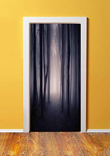 Farm House Decor 3D Door Sticker Wall Decals Mural Wallpaper,Path Through Dark Deep in Forest with Fog Halloween Creepy Twisted Branches Picture,DIY Art Home Decor Poster Decoration 30.3x78.7498,Pink]()