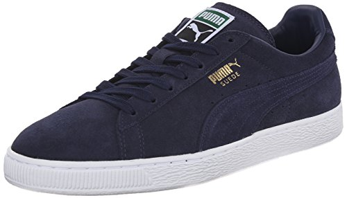 PUMA Men's Suede Classic + Lace-Up Fashion Sneaker, Peacoat/Peacoat/White, 10 M US