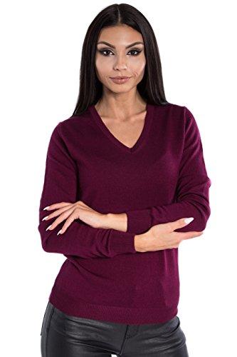 KNITTONS Women's 100% Italian Merino Wool Classic V-Neck Sweater Long Sleeve Pullover (Large, Burgundy) Classic Long Sleeve Pullover