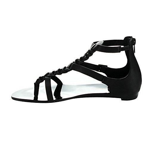 C Etichetta Flatty-5 Sandali Con Tacco A Spillo Tacco Piatto Donna Con Tacco A Spillo, Nero, 7.5