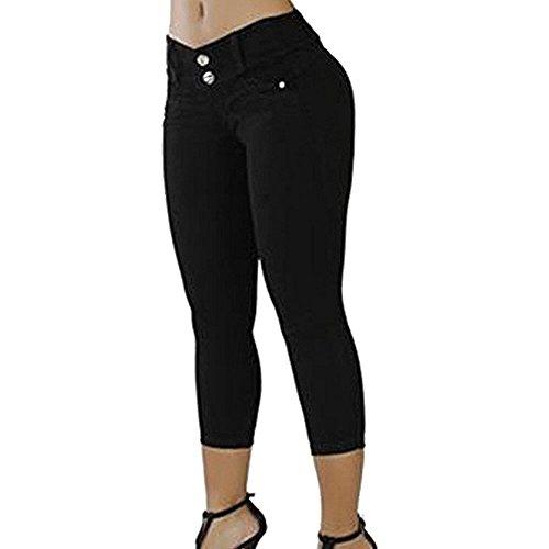 casual Jeans Huateng da obesa Fashion donna 4 3 donna da Pantaloni Nero donna q0xCYxfwT