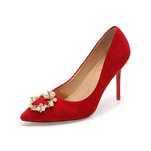 HRCxue Pumps Brautschuhe Hochzeit Schuhe rote Strass Brautjungfer Schuhe wies High Heels Stiletto einzelne Schuhe weiblich 5cm, 40, rot 7cm