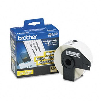 Brother® Pre-Sized Die-Cut Label Roll for QL Label Printers LABEL,3-1/2X1-1/2,400,WE (Pack of5) by BROTHR